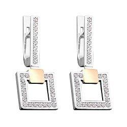Серебряные серьги-подвески с золотыми накладками, фианитами и родированием 000066694
