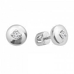 Серебряные серьги-пуссеты с бриллиантами 000123338