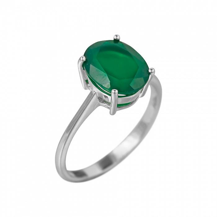 Серебряное кольцо Риана с зеленым агатом 000081595