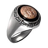 Серебряное кольцо с золотой вставкой и ониксом Богатство