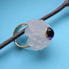 Золотое кольцо с аметистом и кварцем Жоржина