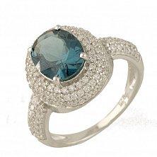 Серебряное кольцо Габриэль с топазом лондон и фианитами