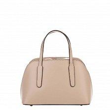 Миниатюрная кожаная сумка Genuine Leather 8672 цвета мокко на кулиске, с металлическими ножками