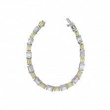 Серебряный браслет Клаути с белыми и желтыми фианитами