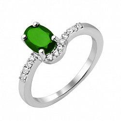 Серебряное кольцо с изумрудом и фианитами 000136010