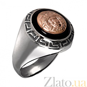 Серебряное кольцо с золотой вставкой и ониксом Богатство BGS--313 B