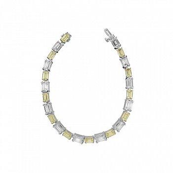 Серебряный браслет с белыми и желтыми фианитами 000099657
