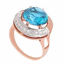 Золотое кольцо с голубым кварцем и фианитами Юмалия