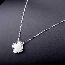 Колье из серебра Стильный цветок с перламутром
