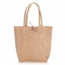 Кожаная сумка на каждый день Genuine Leather 8041 цвета теплый тауп на завязках