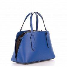 Миниатюрная кожаная сумка Genuine Leather 8672 синего цвета на кулиске, с металлическими ножками