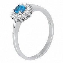 Серебряное кольцо с голубым фианитом Милиани