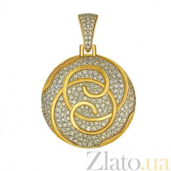 Подвеска из желтого золота с циркониями Доминика VLT--ТТ3336-1