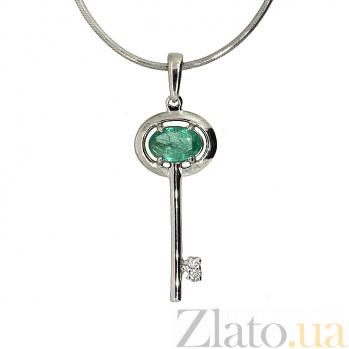 Серебряная подвеска с бриллиантом и изумрудом Ключик от сердца ZMX--PDE-6710-Ag_K