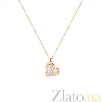 Золотое колье с фианитами Сердце SUF--350557ж