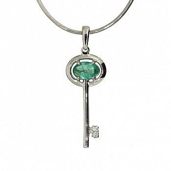 Серебряная подвеска Ключик от сердца с изумрудом и двумя бриллиантами 000019108