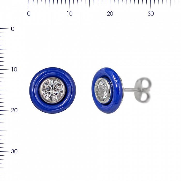 Серебряные серьги-пуссеты Одэлис с синей керамикой и цирконием 000081908