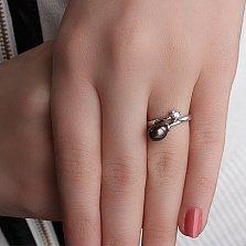 Золотое кольцо с бриллиантом и жемчугом Летиция