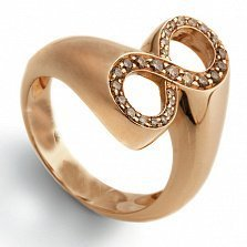 Кольцо Hausmann из розового золота с коньячными бриллиантами