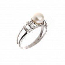 Серебряное кольцо Лурса с белыми жемчугом и фианитами