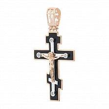Золотой крестик Объятия Христа с фианитами и эмалью