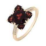 Золотое кольцо Мия с гранатами и бриллиантами