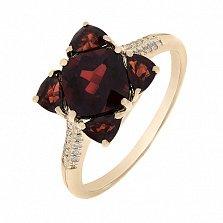 Кольцо в красном золоте Мия с гранатом и бриллиантами