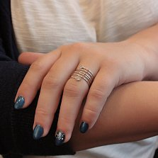 Серебряное кольцо на фалангу Пружина с цирконием