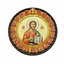 Автомобильная серебряная икона на дереве Христос Спаситель