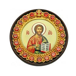 Автомобильная серебряная икона на дереве Христос Спаситель с красными фианитами, эмалью и позолотой