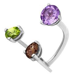 Серебряное кольцо с аметистом, хризолитом и раухтопазом Спектр