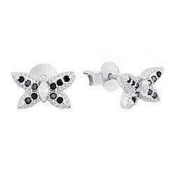 Срібні сережки-пусети з чорним і білим цирконієм 000031083