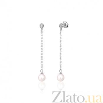 Серебряные серьги с жемчугом и фианитами Сивинай SLX--С2ФЖ/832
