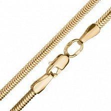 Золотая цепь Алия в плетении плоский снейк, 2,5мм