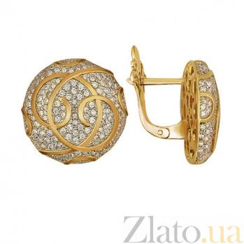Серьги из желтого золота с белым цирконием Доминика VLT--ТТ241-1