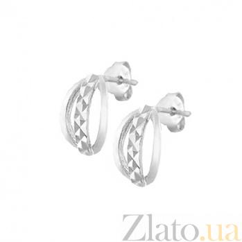 Сережки из серебра Мабель с алмазной насечкой SLX--С2/403