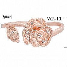 Кольцо Роза из красного золота с бриллиантами