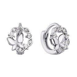 Серебряные серьги-конго с фианитами 000118214