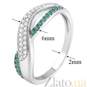 Серебряное кольцо Анита с зелёным и белым цирконием 1891/9р цир зел