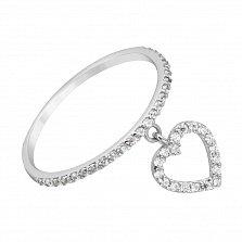 Золотое кольцо в белом цвете Хрустальная любовь с подвеской в виде сердца и белым фианитами