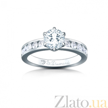 Золотое кольцо с аквамарином и бриллиантами Поздний сбор 000029709