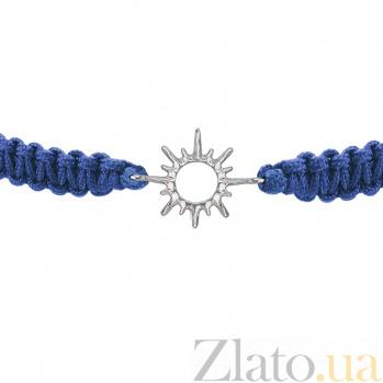 Детский плетеный браслет с серебряной вставкой Солнышко 11-11см 000080579