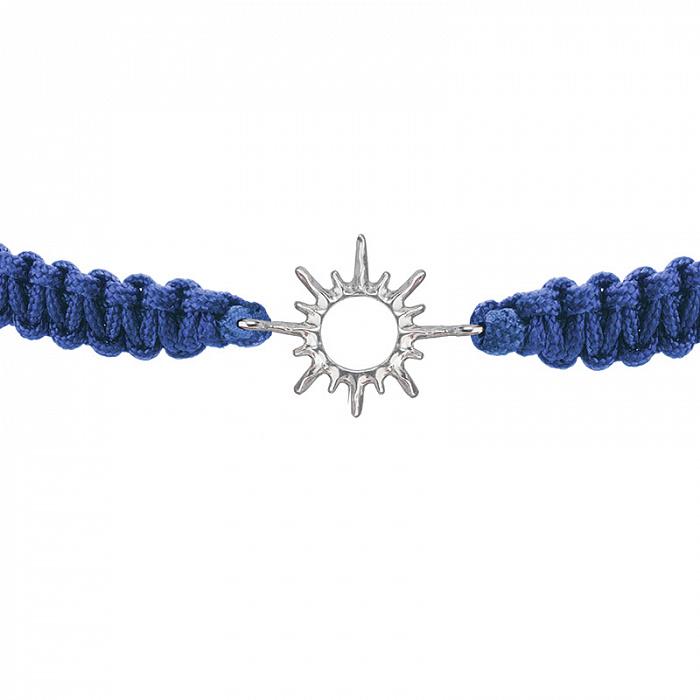 Синий плетеный браслет Солнышко с серебряной вставкой, 10-20см 000080579