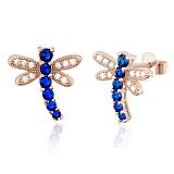Серебряные сережки с позолотой и синим цирконием Стрекозы