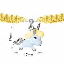 Детский желтый браслет Единорог, плетеный с cеребряной подвеской, фианитом и голубой эмалью, 10х20см