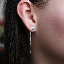 Серебряные родированные серьги-цепочки Сердечко с алмазной гранью