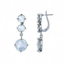 Серьги из серебра с кристаллами Сваровски