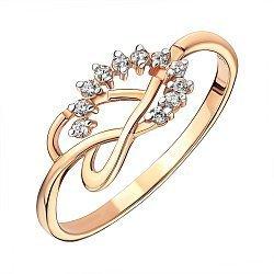 Кольцо из красного золота с фианитами и родированными крапанами 000141366