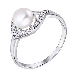 Серебряное кольцо с белым жемчугом и цирконием 000007614