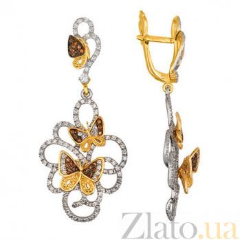 Серьги в двух цветах золота Полет бабочек VLT--ТТТ2284